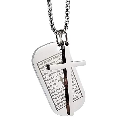 Corner Boss Inspirational Necklace Simple Bible Pendant Accessories Chain Silver Stainless Steel Chain Jewelry for Women Men