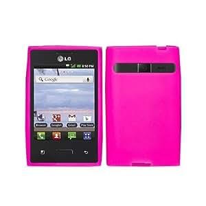 Soft Silicone HOT PINK Skin Cover Case for LG L35G OPTIMUS LOGIC / L38C DYNAMIC NET10 / STRAIGHT TALK...