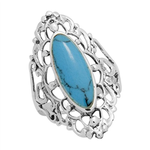 - 30mm Long Ring Filigree Marquise Simulated Blue Turquoise Ring 925 Sterling Silver, Size - 9