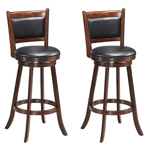 COSTWAY Set of 2 Dining Chair Accent Wooden Swivel Back Bar Height Stool, Fabric Upholstered 360 Degree Swivel, PVC Cushioned Seat, Perfect for Dining and Living Room (Height 29