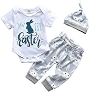 Easter Newborn Clothes Infant Baby Boy Girl My First Easter Outfits Bunny Short Sleeve Romper+Rabbit Long Pant