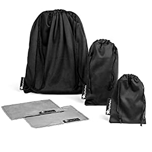 Small Drawstring Bag Set of 3 Premium Black Travel Carry Pouch Bags for Headphones / Earphones / Cell Phone / Sunglasses / Jewelry / Eye Glasses with 2 Microfiber Cleaning Cloths