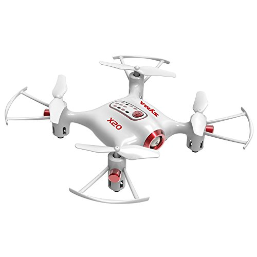 Cheerwing Syma X20 Pocket Drone 2.4Ghz Remote Control Mini RC Quadcopter with Altitude Hold and One Key Take-Off / Landing White