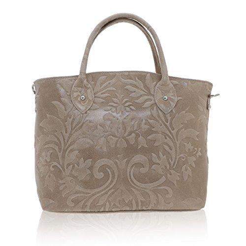 Chicca Borse - Handbag Borsa a Mano da Donna Realizzata in Vera Pelle Made in Italy - 35 x 28 x 11 Cm Fango