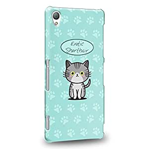 Case88 Premium Designs Art Collections Hand Drawing Cartoon kitten exotic shorthair Carcasa/Funda dura para el Sony Xperia Z3 (No Z3v ni Compact versión !)