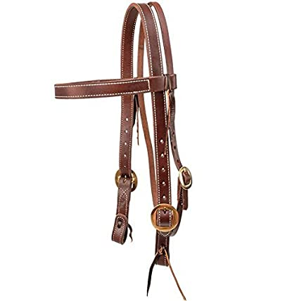 88762572c Amazon.com: SOUTH TEXAS TACK STT Double Stitched Browband Headstall ...