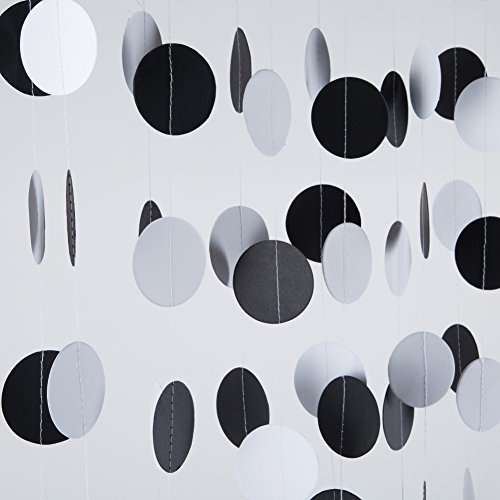 MOWO Circle Dots Paper Garland Hanging Decor,2'' in Diameter,7.2-feet(black/white,5pc)