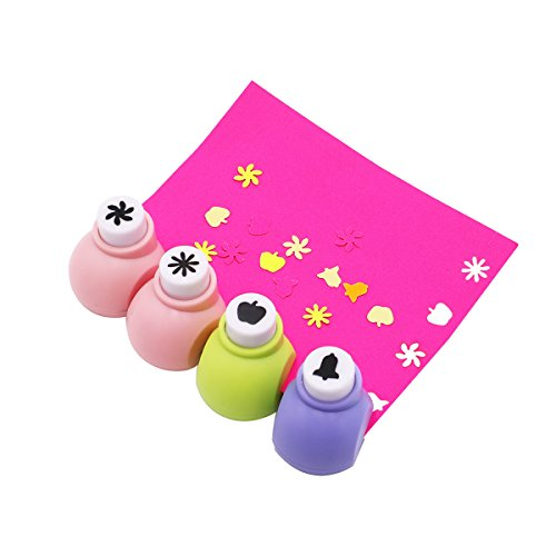 book craft scrapbook cards mini punches hole cutters art craft scrapbook cards - -Apple, rice word, Six petal flower, Small bell (Mini Flower Bells)
