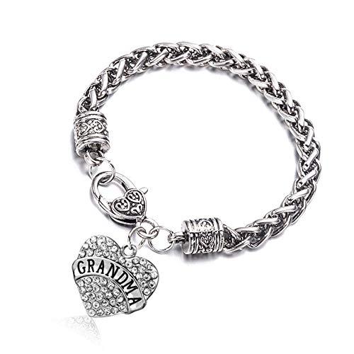 Bling Bling Heart (Fusicase Bling Crystal Silver Hearts Metal Family Member Bracelets(Grandma White))