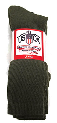 USOA Men's Military Boot Socks Olive DRAB - 3 Pair - Small