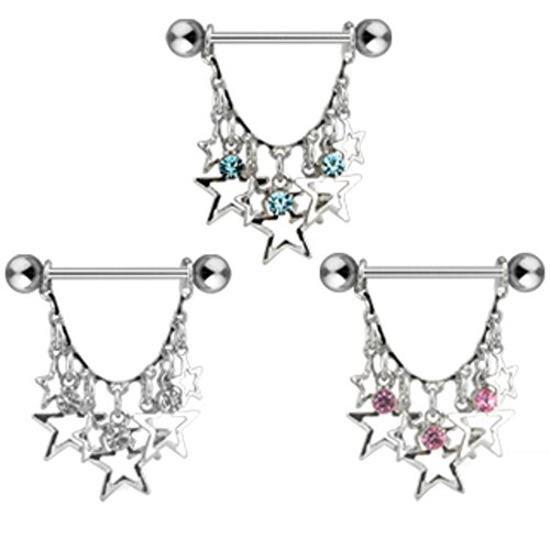 Dynamique 14g Pair of Stars with Crystals Dangle 316L Surgical Steel Nipple Rings (Clear)