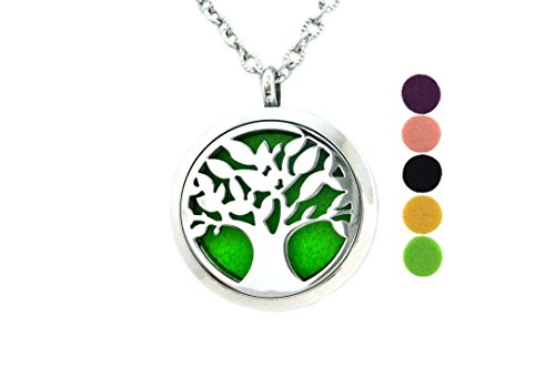 Tree Of Life Diffuser Necklace Pendant Aromatherapy Jewelry Surgical Stainless Steel Locket 24 Inch Adjustable Chain 5 Colorful (24 Inch Clay Roller)