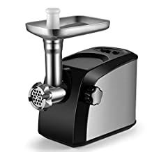 Flexzion Meat Grinder Electric Mincer Machine - Professional 1600W Motor Food Grinder with Stainless Steel Cutting Blades, Grinding Plates, Kubbe Attachment & Sausage Maker Stuffing Tubes Funnel