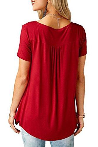 Forti Corta Tshirt Blusa Manica Camicie V Donna Estive Rosso Tuniche T Sciolto Estate Top Grande Camicetta Tunica Eleganti Magliette Shirt XL Casual Camicette Maglie 5XL Collare Taglia Taglie CYOgq