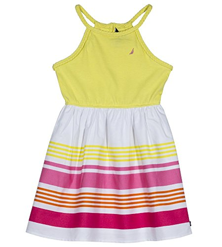 Nautica Girls' Toddler' Spaghetti Strap Fashion Dress, Yellow/Pink, 2T