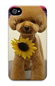 Custom 3D Back Protective Case Cover For iPhone 4 DIY Shell Skin For iPhone 4-A Dog Wear Sunflower