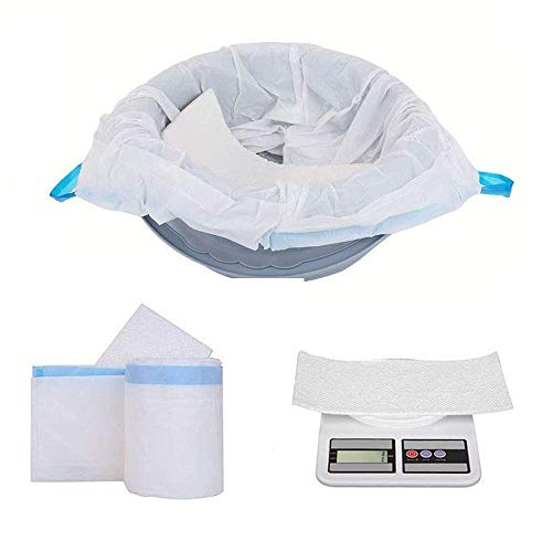 (SPKLANDS Commode Liners with Absorbent Gelling Pad (28 Count) Disposable Absorb 49 Ounces Liquid Biodegradable Universal Fit Pail Toilet or Bedpan)