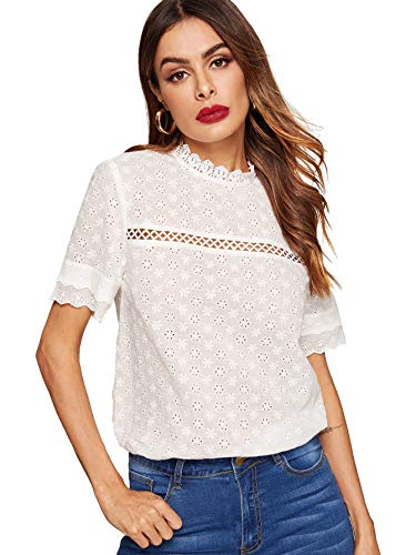 Floerns Women's Short Sleeve Crochet Lace Summer Mock Neck Blouse Top White L