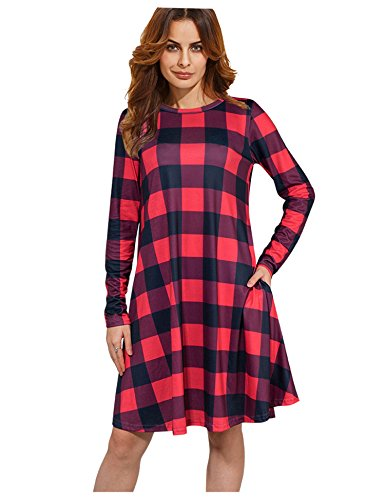 XINGONGCHENG Women's Long Sleeve Checkered Plaid Pockets Casual Swing T-Shirt Dress Red M