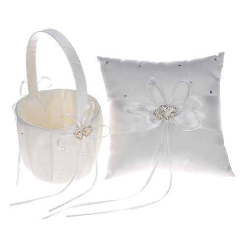 Remedios Boutique Ivory Satin Rhinestone Wedding Flower Basket and Ring Pillow -
