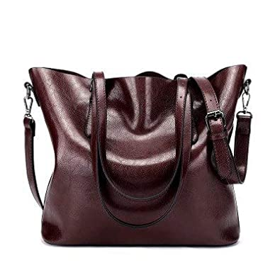 429a46e616 Amazon.com  SENDEFN Designer Women Handbag Female PU Leather Bags Handbags  Ladies Portable Shoulder Bag Office Ladies Hobos Bag Totes Color Dark Red  ...