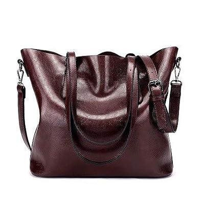 ed6f001b825 Amazon.com  SENDEFN Designer Women Handbag Female PU Leather Bags Handbags  Ladies Portable Shoulder Bag Office Ladies Hobos Bag Totes Color Dark Red  ...