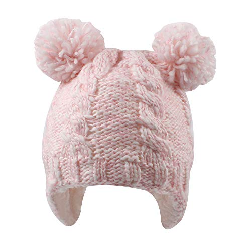 Chunky Cable Knit Baby Hat with Pompom Baby Boys Girls Winter Beanie Warm Fleece Lining Earflap Hat Classic Infant Toddler Bonnet 6M-4Y (2-4 Years, Pink) ()