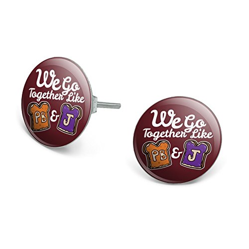 Peanut Butter and Jelly Together PB&J Best Friends Novelty Silver Plated Stud (Jelly Silver Ring)
