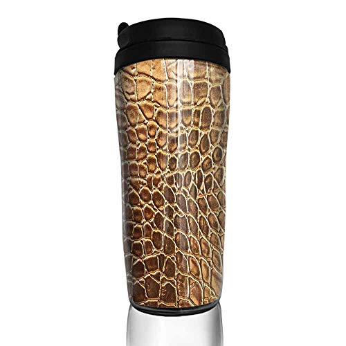 coffee cups set of Animal Print,Tint Golden Vivid Crocodile Skin Nature Life Toughness High End Design Artwork,Gold Brown 12 oz,coffee cup planter for plants Animal Print Design Planters