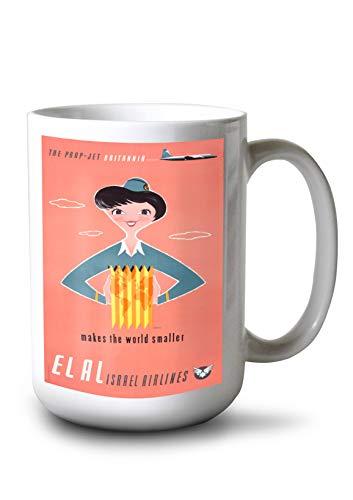 Lantern Press El Al Israel Airlines - (Artist: KOR c. 1957) - Vintage Advertisement (15oz White Ceramic Mug)