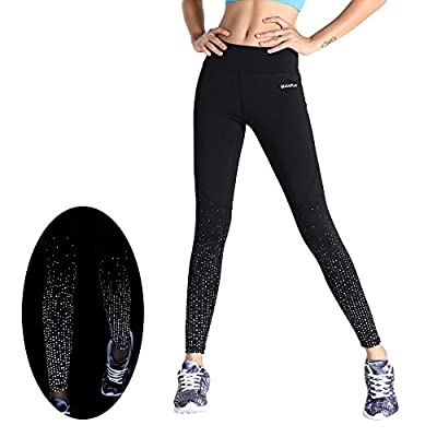 MotoRun Women Reflective Running Leggings Sports Tights Workout Pants High Visibility