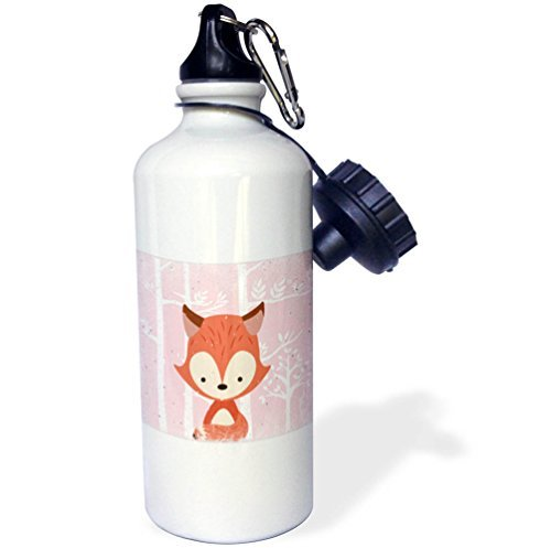 Moson Sports Water Bottle Gift, Uta Naumann Watercolor Illustration Animal Animal Friends Fox In Front Of White Forest In Pink Cute For Kids White Stainless Steel Water Bottle for Women Men 21oz -