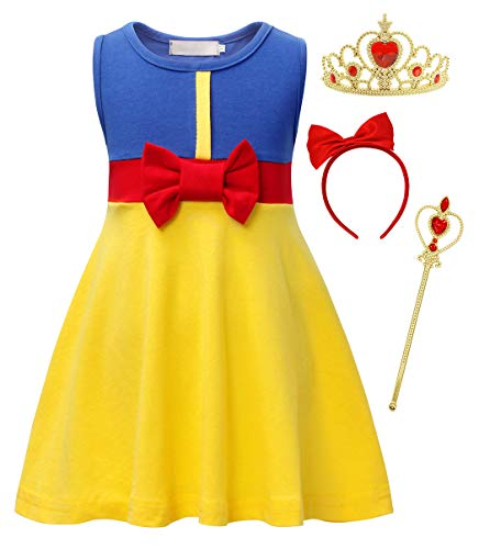 HenzWorld Girls Princess Snow White Fancy Dress Costume Bowknot Sleeveless Dresses Birthday Party Outfits with Jewelry Accessories 5-6 Years
