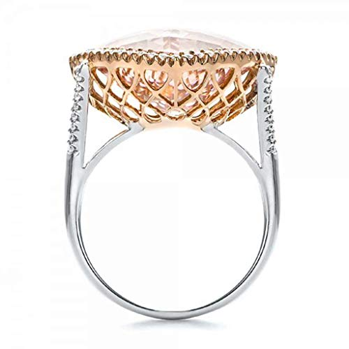 Shmei Silver Ring Women Wedding Engagement Luxurious Elegant Diamond Pink Champagne Hollow Ring Ladies Jewelry (Silver, 7)