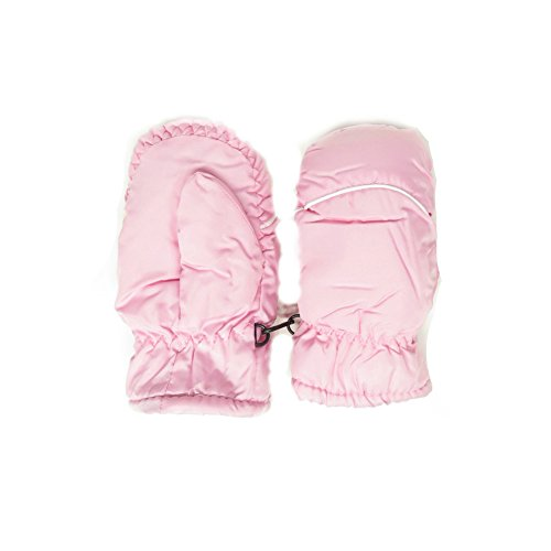 Magg Kids Toddlers Fleece Lined Winter Snow Glove Waterproof Assorted Solid Color 2-4T mittens (Light Pink)