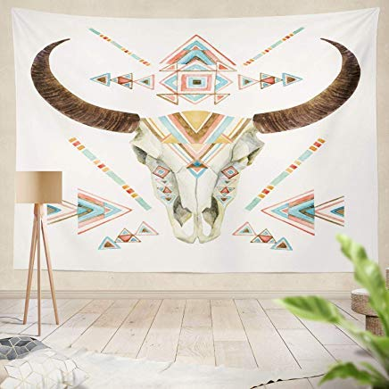 YGUII Decor Collection, Cow Skull Tribal Animal Skull with Ethnic Ornament Buffalo Skull White Wild and Free Watercolor Boho Living Room Wall Hanging Tapestry 150150cm(60
