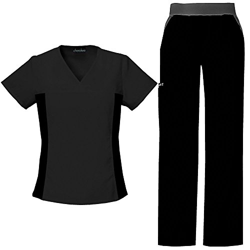 Cherokee Flexibles by Women's V-Neck With Contrast Knit Side Panels Scrub Top & Cargo Pant Set Small Black by Cherokee