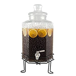 Elegant 2.5 Gallon Glass Beverage Dispenser with Stainless Steel Spigot and Metal Stand - Cracked Ice Design Drink Dispenser