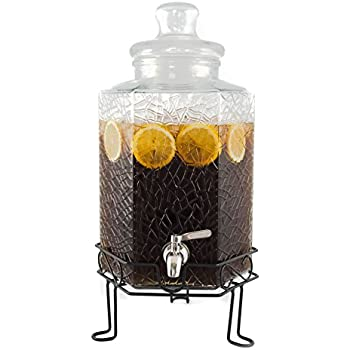 35290d25b2e Redfern Elegant 2.5 Gallon Glass Beverage Dispenser with Stainless Steel  Spigot and Metal Stand - Cracked Ice Design Drink Dispenser