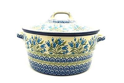 Polish Pottery Baker - Round Covered Casserole - Blue Bells