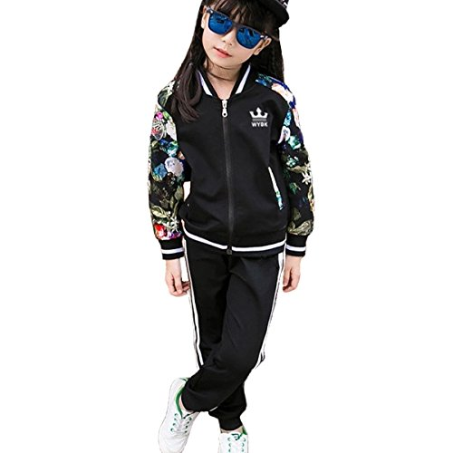 OnlyAngel Girls Fashion Tracksuits Zipper Jacket with Floral Sleeve and Elastic Waist Pant Size 3-11 yrs (10-11 Years, Black)