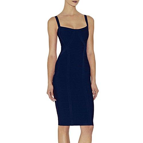 HLBCBG Damen Kleid Blau Blau