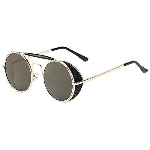 hibote Steampunk Round Lunettes de soleiles Homme Femme Vintage UV400 Shades Gold/Tyrant Gold