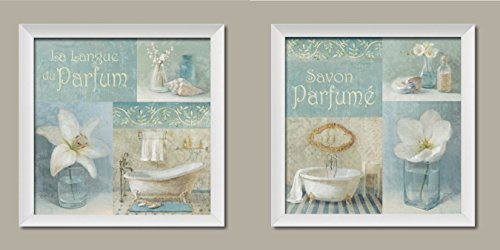 Lovely Teal and Light Blue French Clawfoot Bathtub and Floral Set by Danhui Nai; Bathroom Decor; Two 12x12in White Framed Prints