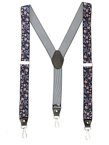 - Romanlin Suspenders for Men with Hooks on Belt Loops Adjustable Elastic Floral Print Tuxedo Suspenders for Groomsmen