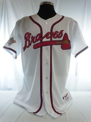 Atlanta Braves Authentic Majestic White Home Jersey w/ 1991 World Series Patch