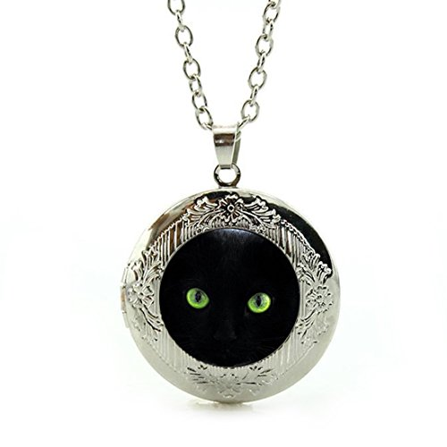 Women's Custom Locket Closure Pendant Necklace Black Cat Green Eyes Glass Cabochon Included Free Silver Chain, Best Gift Set