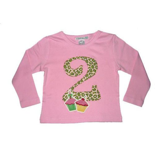 2nd Birthday Shirt With Cupcakes And Tossed Numbers Girls Long Sleeve 3T