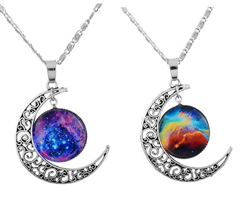 MJartoria Love Across Light Years Filigree Crescent Moon Nebulae Cabochon Friendship Necklace Set of 2
