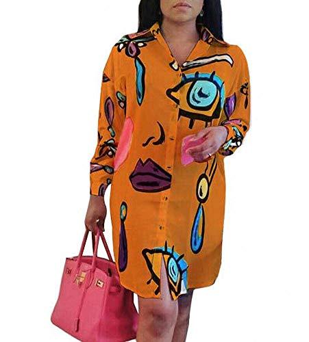 Remelon Womens Graffiti Lip Print Button Down Collar Long Shirt Dress Blouse Mini Dress White XL